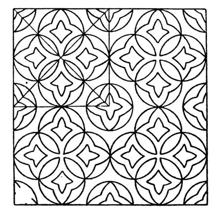 Marble Mosaic Circle Pattern is inlaid pieces of glass found in the windows of a cathedral, It is often used in decorative art or as interior decoration, vintage line drawing or engraving illustration.