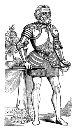 Hernan Cortes, 1485-1547, he was a Spanish conquistador who conquered Mexico for Spain, he was also first and third governor of New Spain, vintage line drawing or engraving illustration Ilustrace