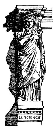 Modern Caryatid, place, column, pillar, supporting, entablature, head, vintage line drawing or engraving illustration.