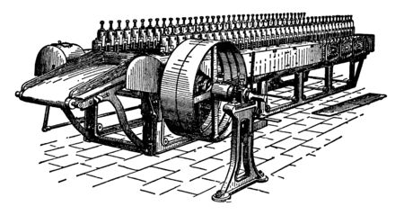 This illustration represents Jute Softening Machine in whichjutemoras are made soft and pliable, vintage line drawing or engraving illustration. Illusztráció