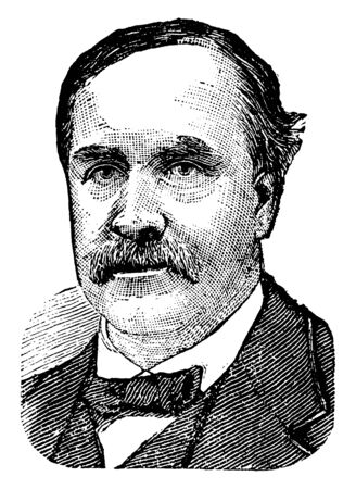 Jeremiah M. Rusk, 1830-1893, he was a U.S. Representative, the governor of the state of Wisconsin from 1882 to 1889 and the United States secretary of Agriculture, vintage line drawing or engraving illustration
