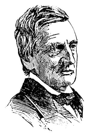 William M. Evarts, 1818-1901, he was an American lawyer and statesman from New York, U.S. secretary of state, U.S. attorney general and U.S. senator from New York, vintage line drawing or engraving illustration Illustration