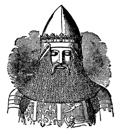 Edward the Black Prince, 1330-1376, he was the first Duke of Cornwall, the Prince of Wales and the Prince of Aquitaine, vintage line drawing or engraving illustration Ilustração