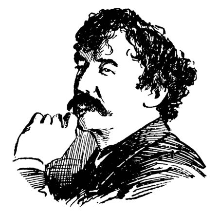 James Whistler, 1834-1903, he was an American painter, author, and etcher, vintage line drawing or engraving illustration