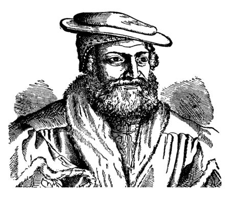 Hans Sachs, 1494-1576, he was a German Meistersinger, poet, playwright, and shoemaker, vintage line drawing or engraving illustration Foto de archivo - 133483647
