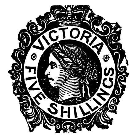 Victoria Five Shillings Stamp from 1868 to 1878, vintage line drawing or engraving illustration. 일러스트