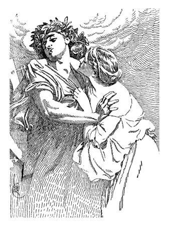 A picture of Ancient Roman Gods - Orpheus and Eurydice, vintage line drawing or engraving illustration.