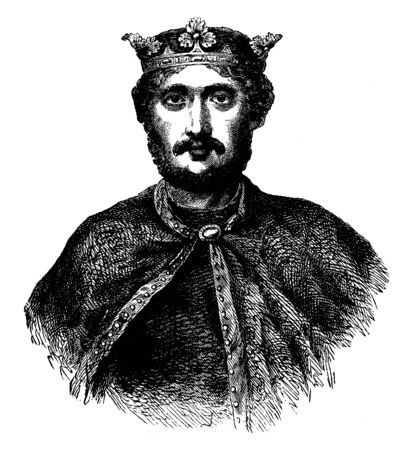Richard the Lion-Hearted, 1157-1199, he was the king of England from 1189 to 1199, vintage line drawing or engraving illustration