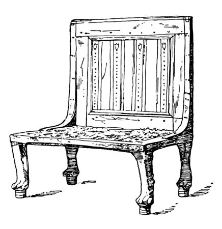 Egyptian chair is treated as a frame, vintage line drawing or engraving illustration. 向量圖像