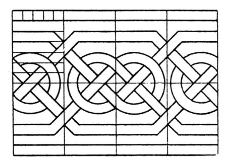 Northern Interlacement Band is a Scandinavian, Its is a richly complicated interlacement design, vintage line drawing or engraving.