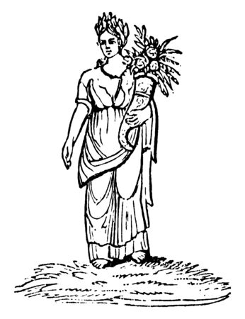 An ancient picture of Victoria, who in the ancient Roman religion, was the personified goddess of victory, vintage line drawing or engraving illustration. 向量圖像