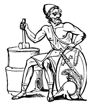An ancient picture of Vulcan, the Roman god of fire sitting with a hammer in his right hand and a sword-shield in his left hand, vintage line drawing or engraving illustration.