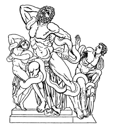 A statue of Trojan priest Laocoon and his two sons, who were killed by giant serpents sent by the gods, vintage line drawing or engraving illustration.