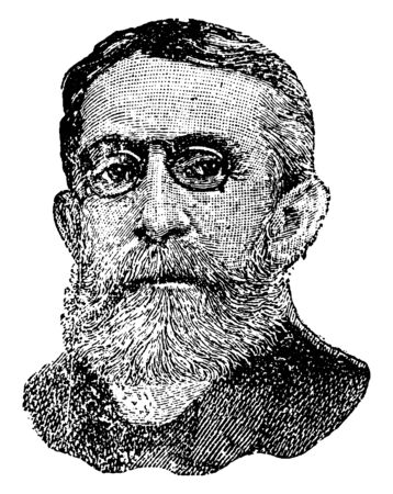 Andrew Dickson White, 1832-1918, he was an American historian and educator, first president of Cornell University, vintage line drawing or engraving illustration