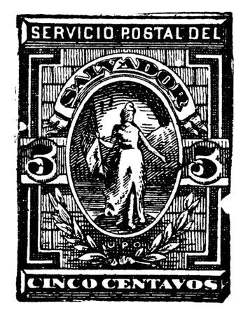 This illustration represents Salvador Cinco Centavos Stamp from 1888 to 1889, vintage line drawing or engraving illustration. Reklamní fotografie - 133425324