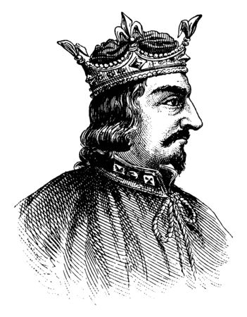 King Stephen, he was the king of England and count of Boulogne, vintage line drawing or engraving illustration