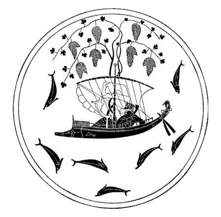 In this image Dionysus at Sea in many fish are, vintage line drawing or engraving illustration.