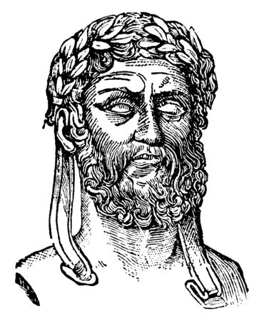 Xenophon, c. 430-354 BC, he was an ancient Greek philosopher, historian, soldier and mercenary, vintage line drawing or engraving illustration Vettoriali