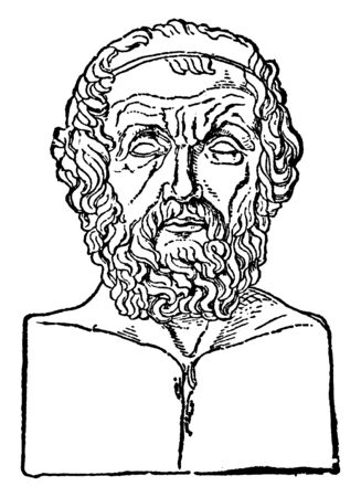 Homer, he was an ancient Greek poet who wrote the Iliad and the Odyssey, vintage line drawing or engraving illustration Illusztráció