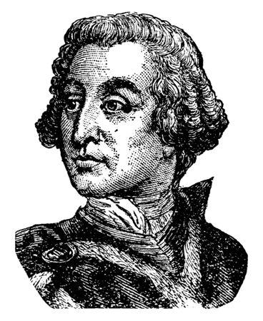 James Oglethorpe, 1696-1785, he was a British soldier, Member of Parliament, philanthropist, and governor of Georgia, vintage line drawing or engraving illustration Vektoros illusztráció