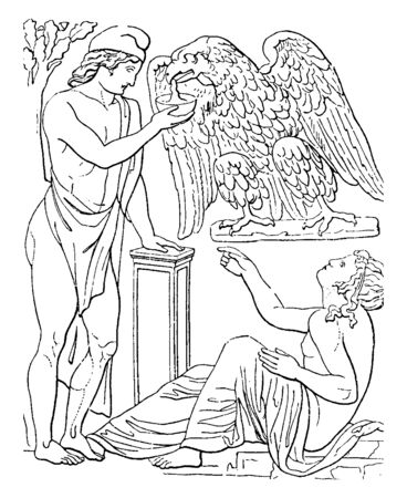 In this picture showing Ganymede to giving drink to the eagle.  & one person sitting  down to see the Ganymede, vintage line drawing or engraving illustration.