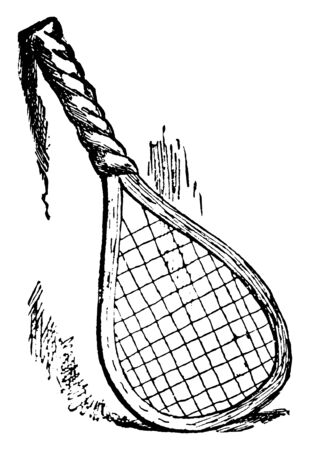 A badminton or tennis racket with loose grip tape, vintage line drawing or engraving illustration.