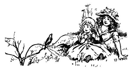 A woman and little girl sitting outside and watching a bird sing, vintage line drawing or engraving illustration