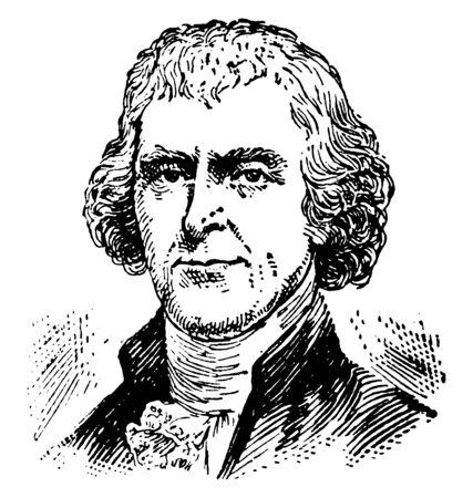 Thomas Jefferson, 1743-1826, fue un padre fundador estadounidense, autor principal de la declaración de independencia, tercer presidente de los Estados Unidos y segundo vicepresidente de los Estados Unidos, línea vintage de dibujo o ilustración de grabado