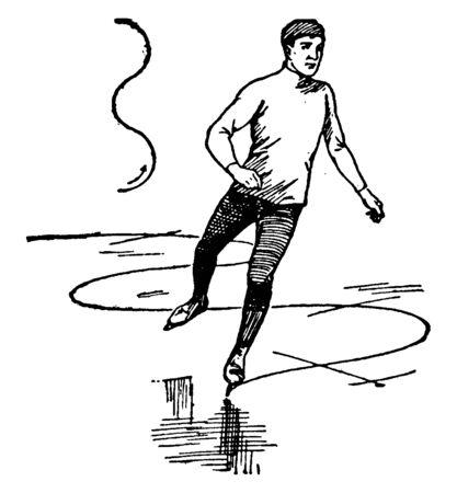 A skater making snake figure while skating, vintage line drawing or engraving illustration.