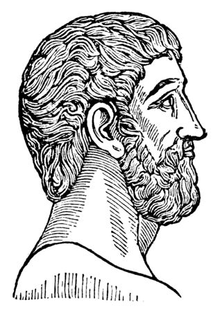 Plato, he was a philosopher in classical Greece and the founder of the academy in Athens, vintage line drawing or engraving illustration Archivio Fotografico - 133425347