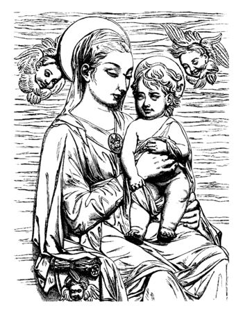 It looks like this is the sculpture by the great artist, Donatello, there is a woman who is holding a child. It is a Bas-relief that is hanging over the alter of a church in Florence, vintage line drawing or engraving illustration.