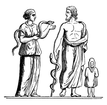 An image of Hygieia with his father Asclepius holding the snake in their hand, vintage line drawing or engraving illustration. Banque d'images - 133425354