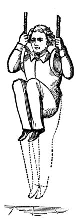 Boy exercising on ring by holding it with hands and bending legs in knee and again straighten it, vintage line drawing or engraving illustration.