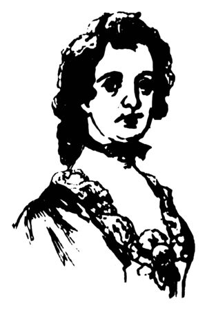 Mary Phillipse, 1730-1825, she was first love of George Washington who was one of the only women to be accused of Treason during the Revolutionary war, vintage line drawing or engraving illustration