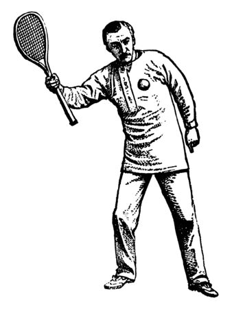 Player holding racket facing upward and ball is in the air. He is showing correct pose for overhand serve, vintage line drawing or engraving illustration. 向量圖像