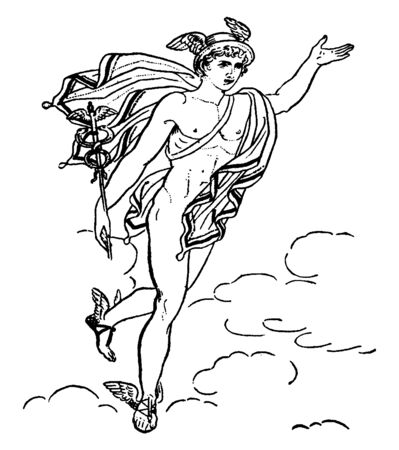 A picture of Mercury with winged slippers on his feet and cap on his head, vintage line drawing or engraving illustration. Ilustracja
