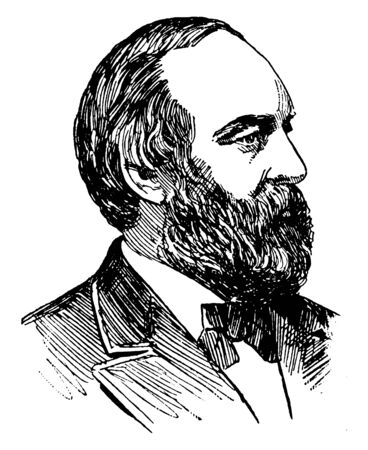 James A. Garfield, 1831-1881, he was the 20th president of the United States, and member of the U.S. house of representatives from Ohio, vintage line drawing or engraving illustration