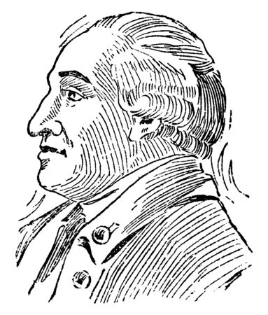 Frederick Steuben,  1730-1794, he was an inspector general and major general of the continental Army during the American Revolutionary War, vintage line drawing or engraving illustration