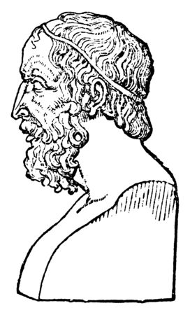 Bust of Homer, he was an ancient Greek poet who wrote the Iliad and the Odyssey, vintage line drawing or engraving illustration Ilustração