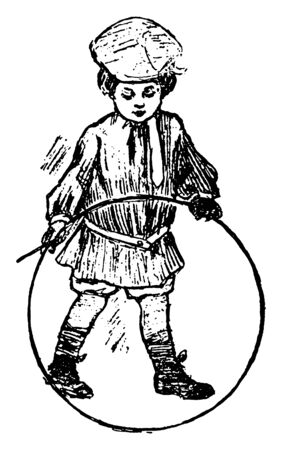 A boy is playing with a hoop, which he strikes with the stick and the hoop is rolled along the ground, vintage line drawing or engraving illustration.