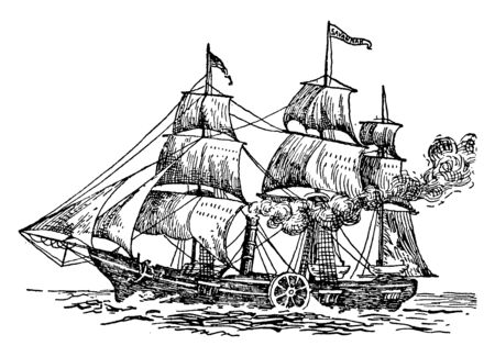 The Savannah was the first steam vessel to cross the Atlantic Ocean in 1819, vintage line drawing or engraving illustration.