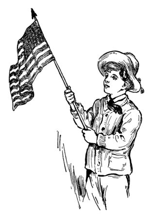This image shows the boy having flag in his hands. The flag is of United States. The boy is showing respect for his Country's pride, vintage line drawing or engraving illustration.