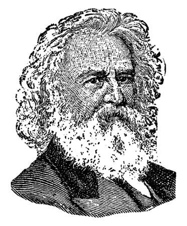 Henry Longfellow, 1807-1882, he was an American poet and educator whose works include Paul Reveres Ride, The Song of Hiawatha, and Evangeline, vintage line drawing or engraving illustration