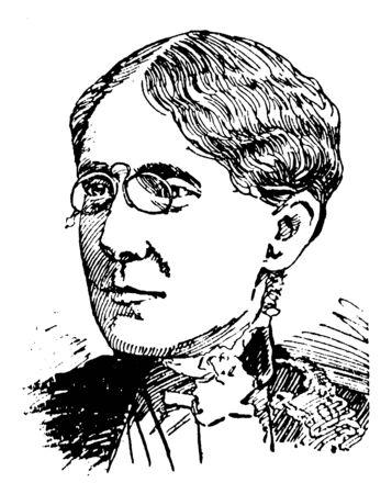 Frances Elizabeth Willard, 1839-1898, she was an American educator, temperance reformer, and womens suffragist, vintage line drawing or engraving illustration Ilustração