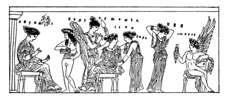 Harmonia is seen to be surrounded by the group of ladies.  In Greek mythology, she is believed to be the immortal goddess of harmony and concord, vintage line drawing or engraving illustration. Banque d'images - 133025742