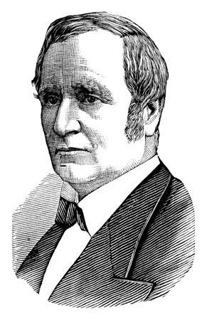 Thomas A. Hendricks, 1819-1885, fue un político estadounidense, abogado, decimosexto gobernador de Indiana y vicepresidente de los Estados Unidos, grabado o dibujo de línea vintage de la ilustración Ilustración de vector