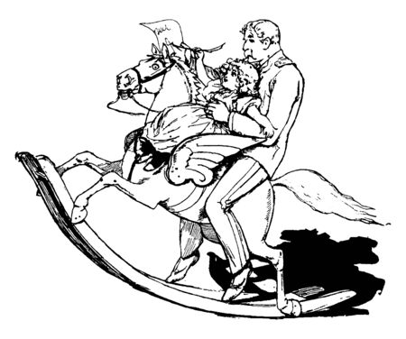In this picture the rocking horse having wings. Little girl and her father riding a rocking horse with wings, vintage line drawing or engraving illustration.