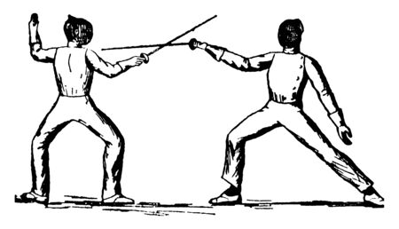 Players using Tierce Parry technique of fencing showing perfect pose of sword facing downward and pronated wrist, vintage line drawing or engraving illustration. Ilustração