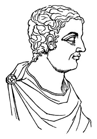 Pliny Minor, he was a lawyer, author, and magistrate of Ancient Rome, vintage line drawing or engraving illustration