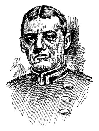 Rear-Admiral Evans, 1846-1912, he was commanding officer of the Navy's first division, vintage line drawing or engraving illustration